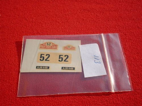 Corgi Toys 321 Mini Cooper S Monte Carlo rally signs (Number 52 and plates) TRANSFERS / DECALS